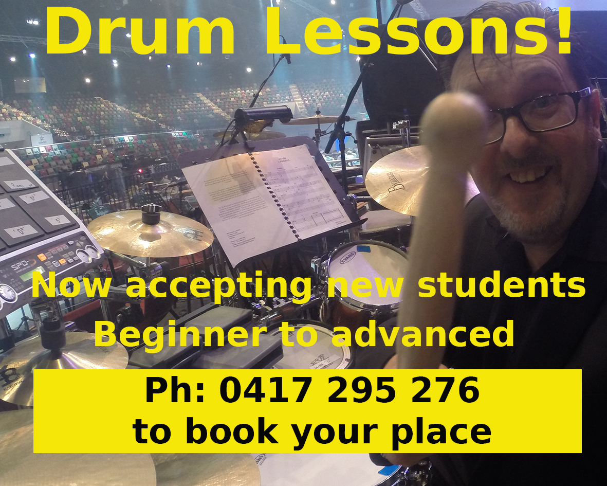 Drum lessons with Jeremy Sibson ph 0417295276