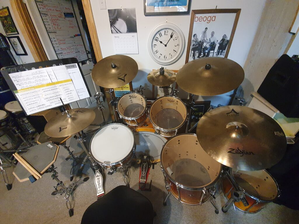 Teaching drum kit with Zildjian cymbals