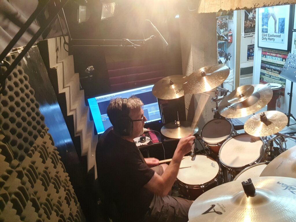 Jeremy Sibson recording a track for a client.